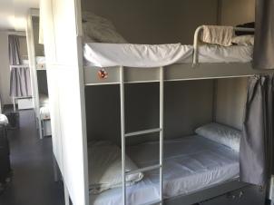 Dorm style hostel rooms.